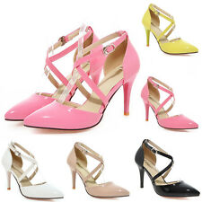 Women's Ankle Cross Strap High Heels Pointy Toe Gladiator Pumps Stiletto Shoes