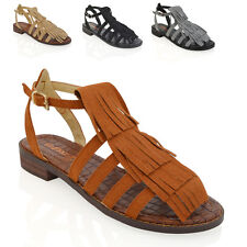 NEW WOMENS FRINGE SANDALS LADIES TASSEL FLAT SUMMER STRAPPY GLADIATOR SANDALS