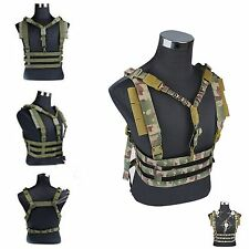 Adjustable Tactical MOLLE Chest Rig Lightweight High Speed Vest QD Bungee Sling
