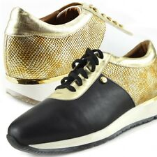 New Womens Metallic Gold Lace Up High Top Sport Shoes Leather Casual Sneakers