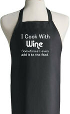 I Cook With Wine Novelty Grilling Apron Funny Barbeque Kitchen Bake Chef BBQ Fun