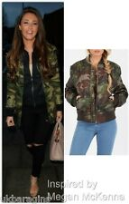 Womens Ladies Biker Celeb MA1 Camouflage Army Print Bomber Jacket Long Sleeve