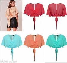 New Womens LADIES CROP TOP BATWING  BACK TIE CUT OUT CHIFFON V-NECK TOPS 8-14