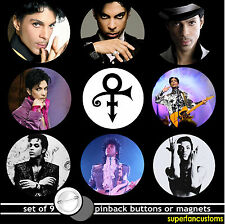 Prince SET OF 9 BUTTONS or MAGNETS or MIRRORS music purple rain pinback #1048