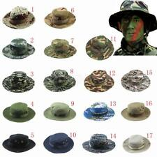 Mens Camo Military Boonie Cap Sun Bucket Brim Bush Army Fishing Hiking Hat Hot