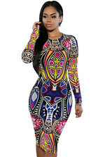 Tribal Print Multi Colour Pencil Dress Women Sexy Bodycon Bandage Evening party