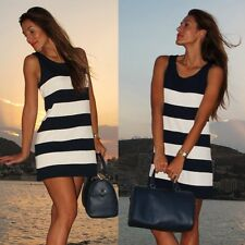 Fashion Womens White and Black Sleeveless Dresses A-line Round Neck Casual Dress
