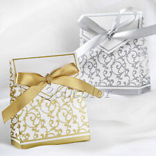 1 - 100pcs Sliver Gold Bridal Wedding Party Favor Gift Ribbons Candy Boxes Bags