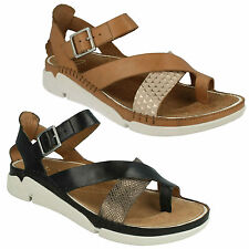 TRI ARIANA LADIES CLARKS TOE POST BUCKLE STRAP LEATHER CASUAL SUMMER SANDALS