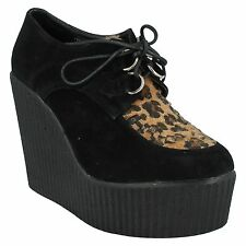 LADIES F9593 LEOPARD PRINT DETAIL HIGH WEDGE HEEL PLATFORM LACE UP SHOES SPOT ON