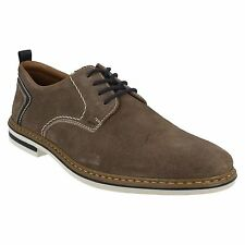 MENS RIEKER B1421 ROUND TOE LACE UP GREY SUEDE CASUAL EVERYDAY FLAT SMART SHOES