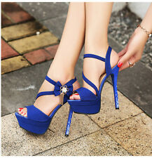 Womens Shoes High Crystal Heel Peep Toe Platform Sexy Stiletto Pumps Bow Sandals