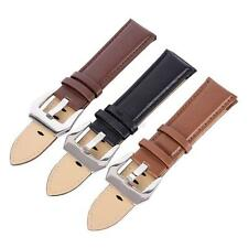 Genuine Leather Wrist Watch Strap Band Stainless Steel Buckle Bands 20 22 24mm