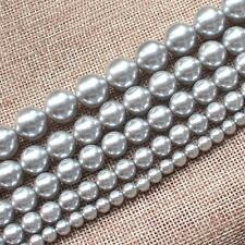 Beautiful Silver Gray Shell Pearl Round 6-14mm Loose Beads 15""