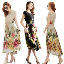 Womens Elegant Floral Maxi Dress Bohemian Short Sleeve Chiffon Casual Long Dress