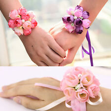 Wrist Flower Corsage Bracelet Silk Rose Flower Wedding Party Bridal Bridesmaids