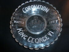 Superb Rare Vintage -George VI Coronation - Duncan Sandwich Glass Platter 1937
