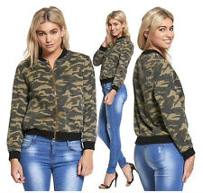 NEW WOMENS LADIES LONG SLEEVE ARMY CAMOUFLAGE PRINT BIKER MA1 BOMBER JACKET COAT