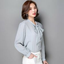 Women Elegant OL Career Crochet Lace Chiffon Shirt Lapel Long Sleeve Blouse Tops