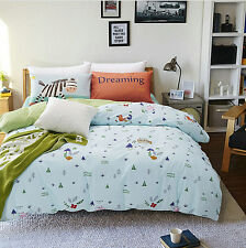 100% Cotton Pictorial Trees Animal Bedding Duvet Cover Set Bedsheet Queen/Twin