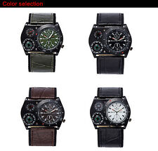 OULM Military Army Big Dial Time Zone Leather Strap Sports Mens Boys Wrist Watch