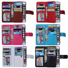 Luxury Magnetic Practical 9 Card slot PU Leather Flip Wallet Phones Case Cover