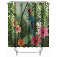Waterproof Polyester Shower Curtain 3D Parrot Nature Pattern 12 Plastic Hooks