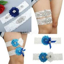 Crystal Rhinestone Flower White Lace Bridal Garter Set Wedding Keepsake Garter