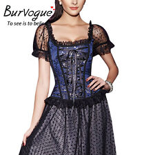 Sexy Lace Gothic Short Sleve Steampunk Corset Overbust Lace Up Corset Top