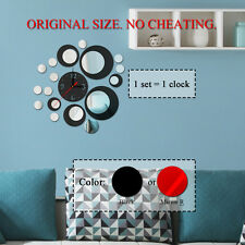 Modern Circles Acrylic Mirror Style Wall Clock Removable Decal Art Sticker Decor