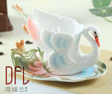 Ceramic Swan Tea Cup Set Tableware for Dinning Table Home Decor Saucer Spoon