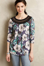 Anthropologie Earthly Delights Peasant Top Sz XS, Blue Floral Print, Meadow Rue