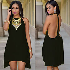 Sleeveless Halter Backless Cross Fashion Loose Sexy Women Clubwear Dresses 38721