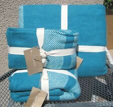 WEST ELM ~TEAL BORDER STRIPE BED COVER BLANKET ~ TWIN ~ FULL/QUEEN ~ KING