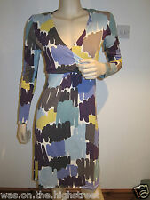 New Ex Boden Jersey Wrap Dress Purple Blue Brush Stroke print Size 8 10 Reg