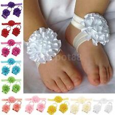 Kids Baby Girls Barefoot Sandals Foot Flower+Floral Headband Elastic Hairband