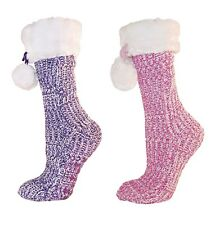 Ladies Warm Chunky Chennile Knit Slipper Sock with fluffy top and pom poms
