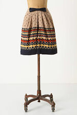 Anthropologie Dots After Six Skirt Sz 10, Printed Pleated Cotton w/Bow Anna Sui