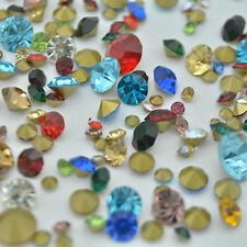 Mixed Sizes Colors Point back Rhinestones Crystal Glass Chatons Round C1