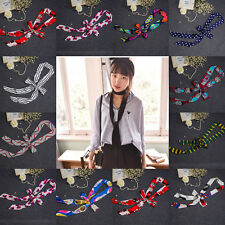 1X Beauty Lady Soft Silk Scarf Cravat Double Layer Ribbom Multi-Color Silk Scarf