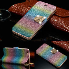 Luxury Bling Glitter Crystal Leather Flip Wallet Case Cover For iPhone Samsung