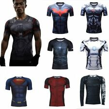 New Men's Compression Marvel Superhero Top T-shirts Gym Fitness Sports Shirts