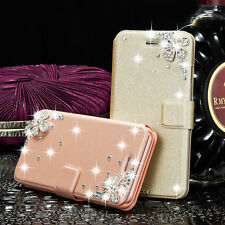 Luxury Leather Bling Crystal Stand Wallet Case Cover For iPhone Samsung Galaxy