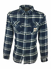 Superdry Mens Milled Flannel Long Sleeved Atlantic Check Blue Shirt in Size XL