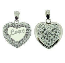 9CT White Gold Plated CZ Set LOVE Heart Pendant With Chain Options In Gift Box