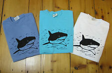 GREAT WHITE SHARK T Tee Shirt Comfort Colors Denim or Lagoon Blue or White Adult