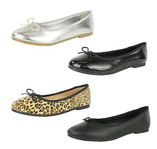 S430 - Ladies Flat Ballet Pumps Ballerinas Shoes with Bow - UK 3 - 8