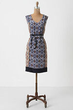 Anthropologie Spliced Ikat Shift, Printed Silk V-Neck Dress By Coquille 2-4-6-8