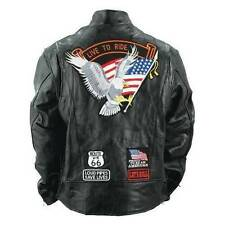 Mens Buffalo Leather Jacket Biker Motorcycle Harley Eagle USA Flag Patches