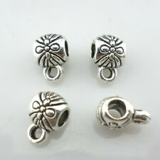 70/600pcs Tibetan Silver Flower Connectors Spacer Bails Beads Bracelet Charms
